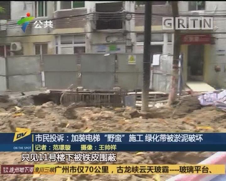 "(DV现场)市民投诉:加装电梯""野蛮""施工 绿化带被淤泥破坏"
