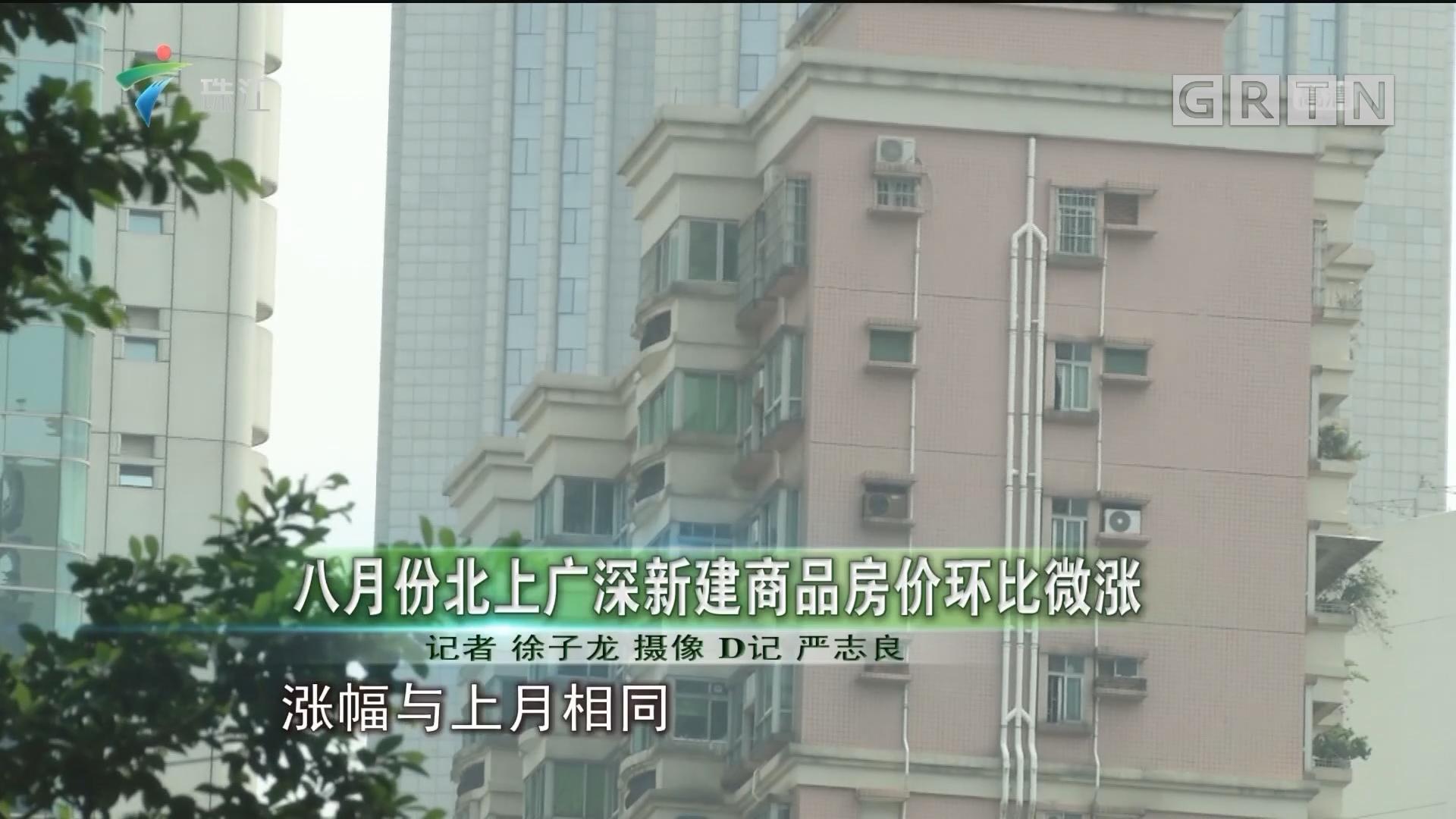 八月份北上广深新建商品房价环比微涨