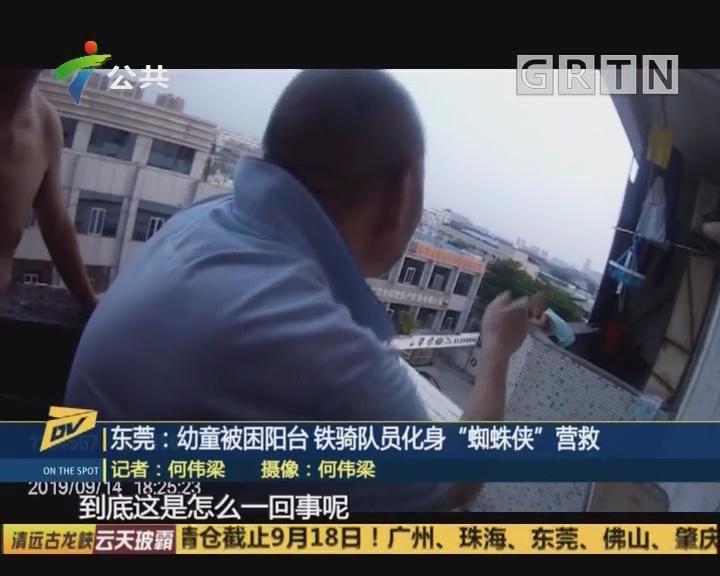 "(DV现场)东莞:幼童被困阳台 铁骑队员化身""蜘蛛侠""营救"