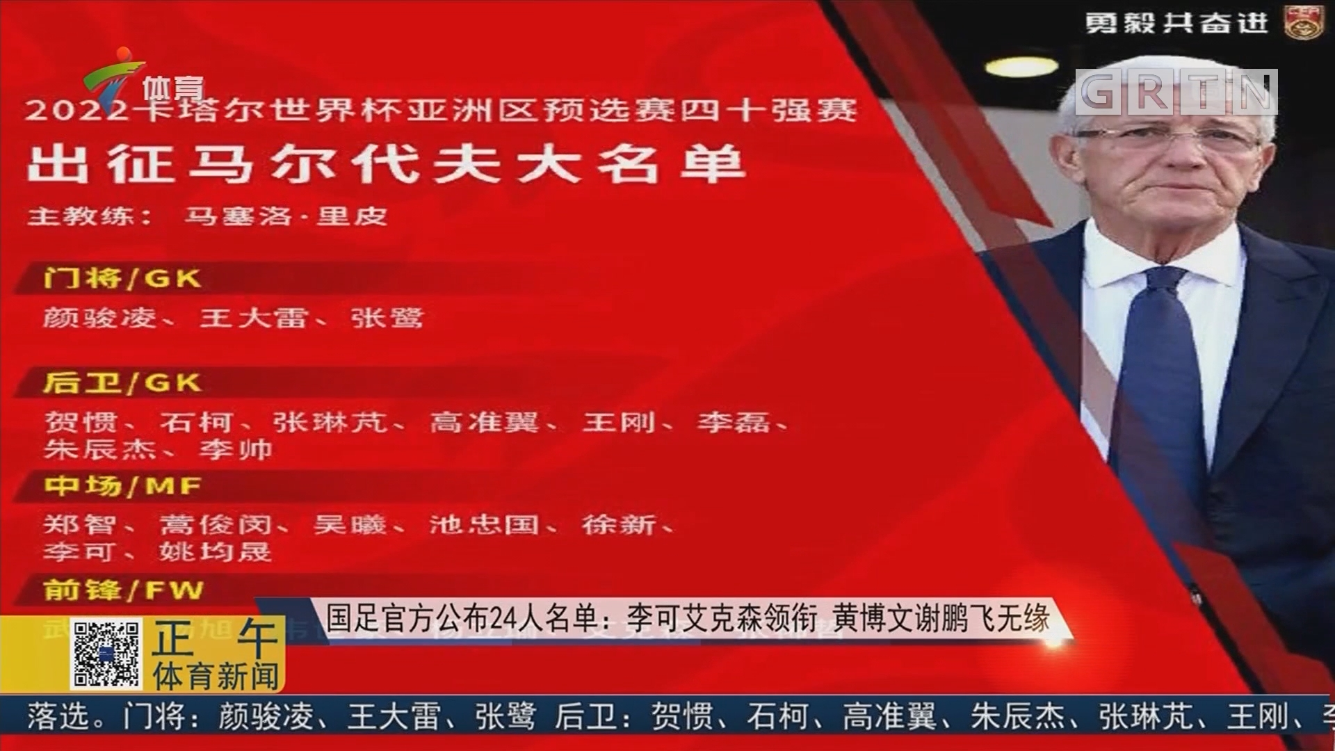 国足官方公布24人名单:李可艾克森领衔 黄博文谢鹏飞无缘