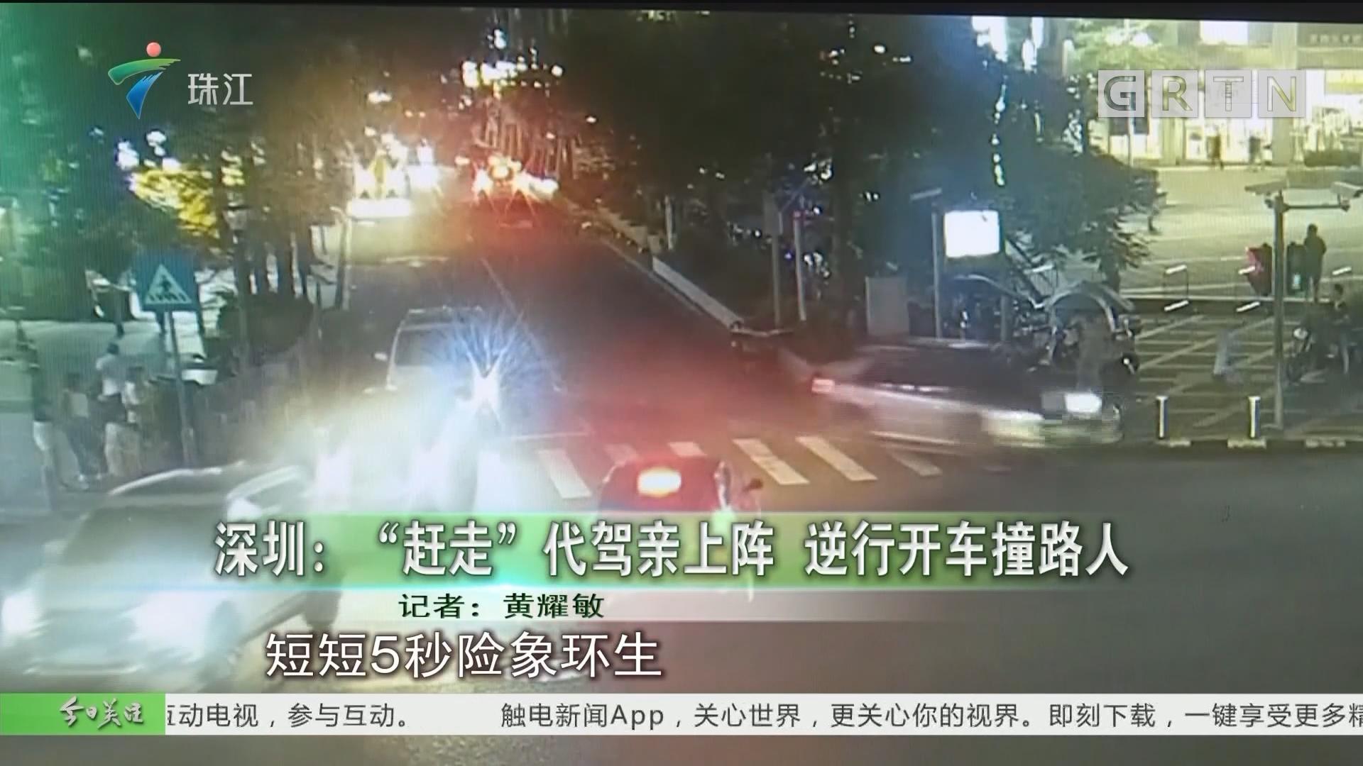 """深圳:""""赶走""""代驾亲上阵 逆行开车撞路人"""