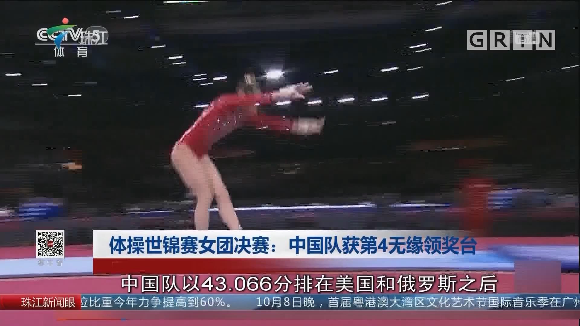 体操世锦赛女团决赛:中国队获第4无缘领奖台