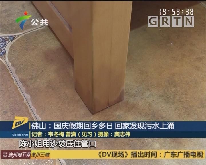 (DV现场)佛山:国庆假期回乡多日 回家发现污水上涌