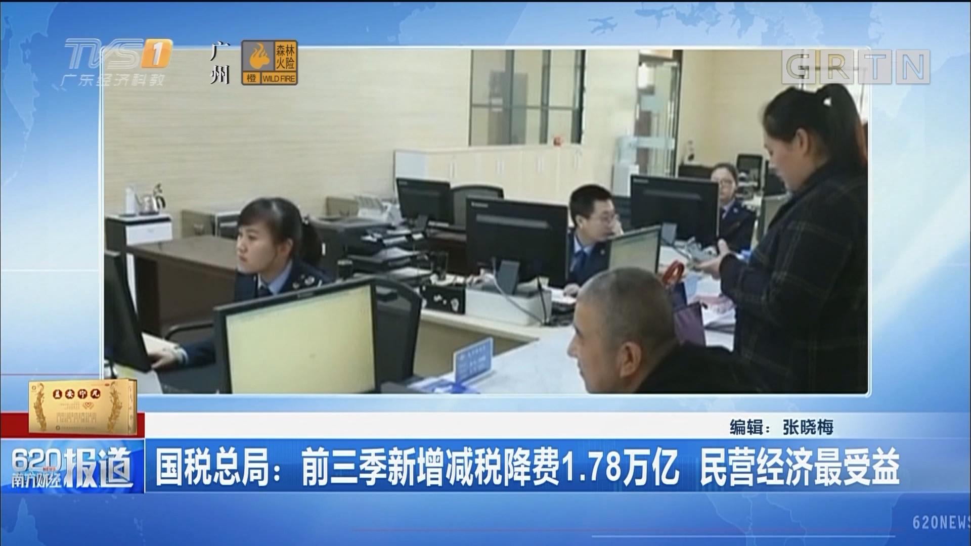国税总局:前三季新增减税降费1.78万亿 民营经济最受益