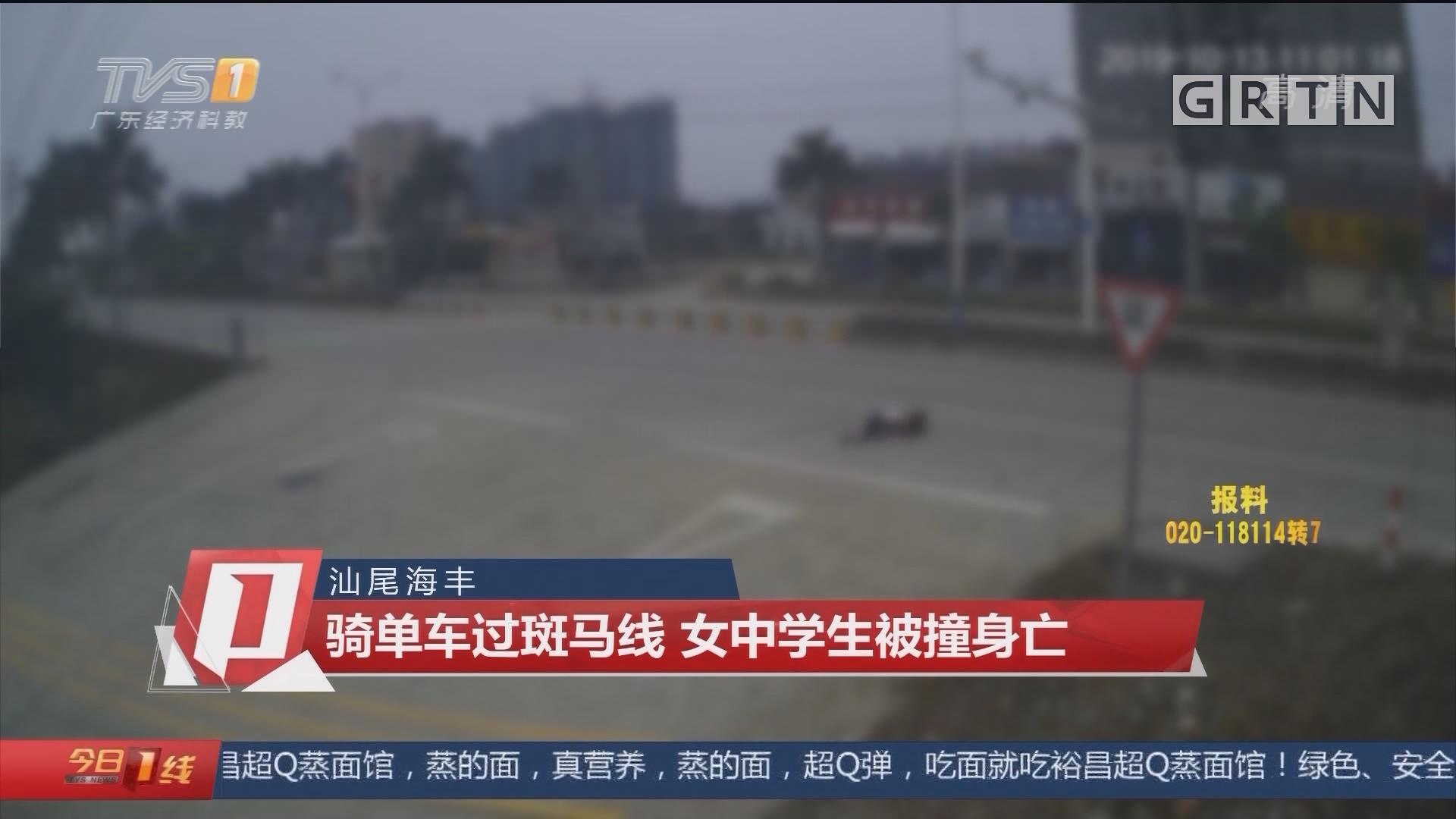 汕尾海丰:骑单车过斑马线 女中学生被撞身亡