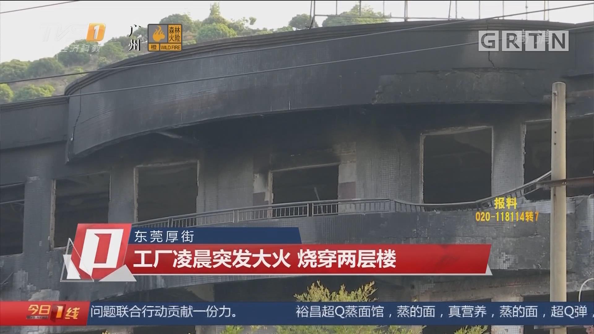 东莞厚街:工厂凌晨突发大火 烧穿两层楼