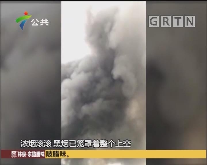 (DV现场)惠州:家具建材广场突发大火 过火面积1500平方