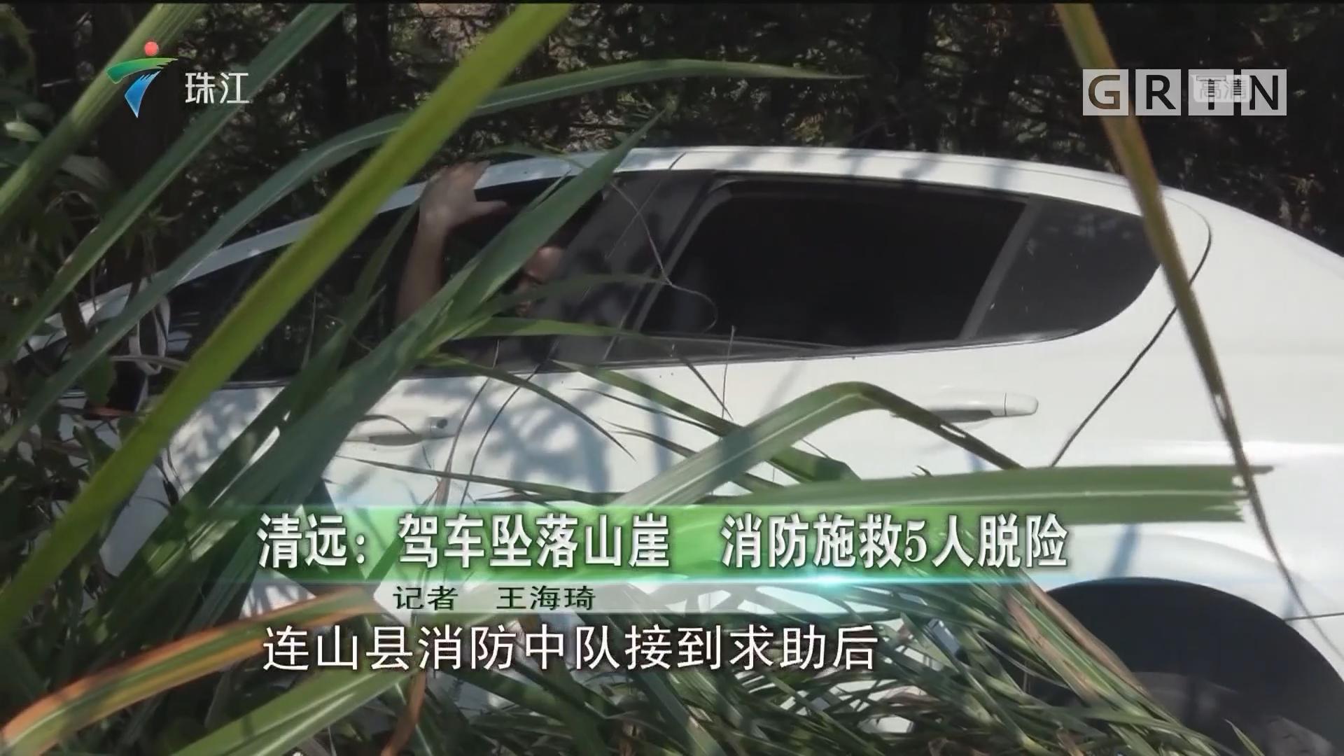 清远:驾车坠落山崖 消防施救5人脱险