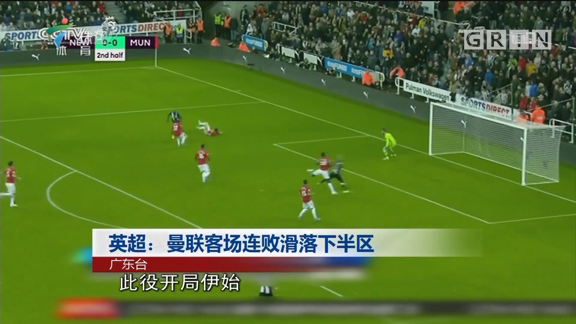 英超:曼联客场连败滑落下半区