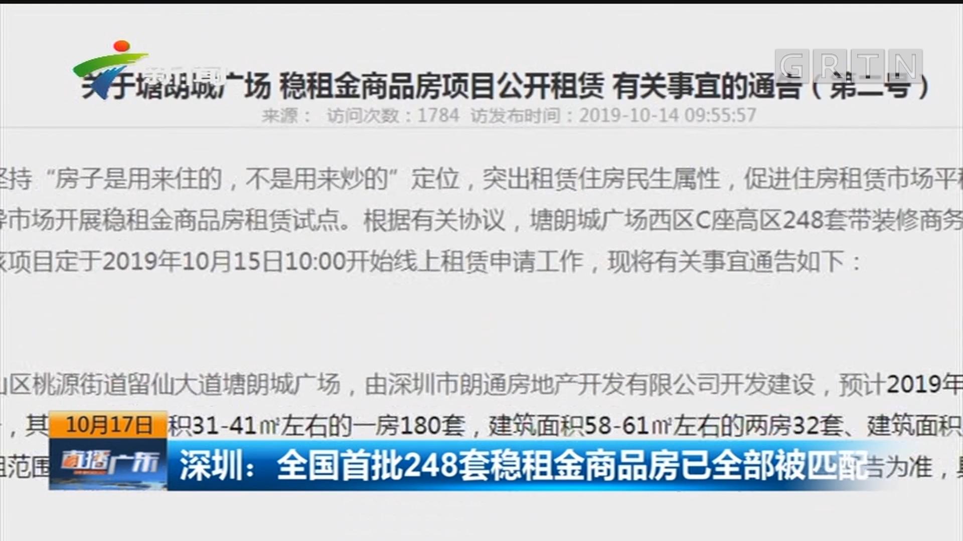深圳:全国首批248套稳租金商品房已全部被匹配