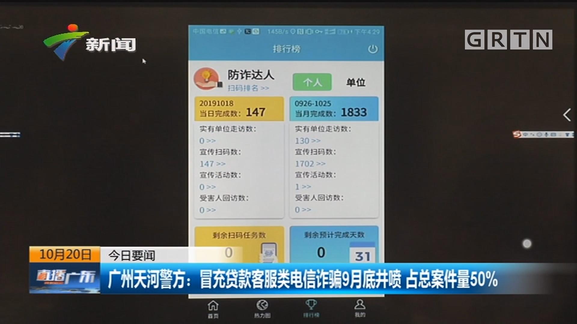 广州天河警方:冒充贷款客服类电信诈骗9月底井喷 占总案件量50%