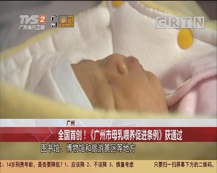 广州 全国首创!《广州市母乳喂养促进条例》获通过