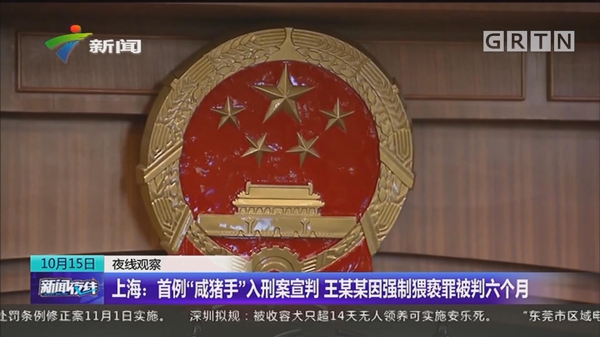 """上海:首例""""咸猪手""""入刑案宣判 王某某因强制猥亵罪被判六个月"""