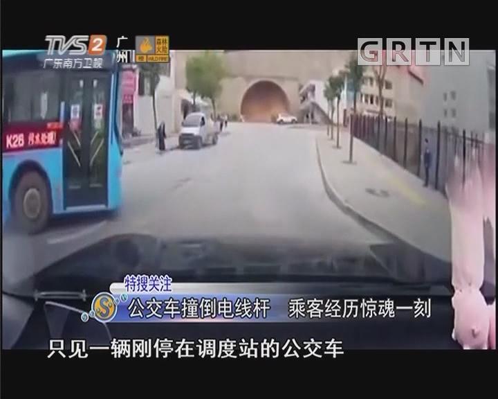 公交车撞倒电线杆 乘客经历惊魂一刻