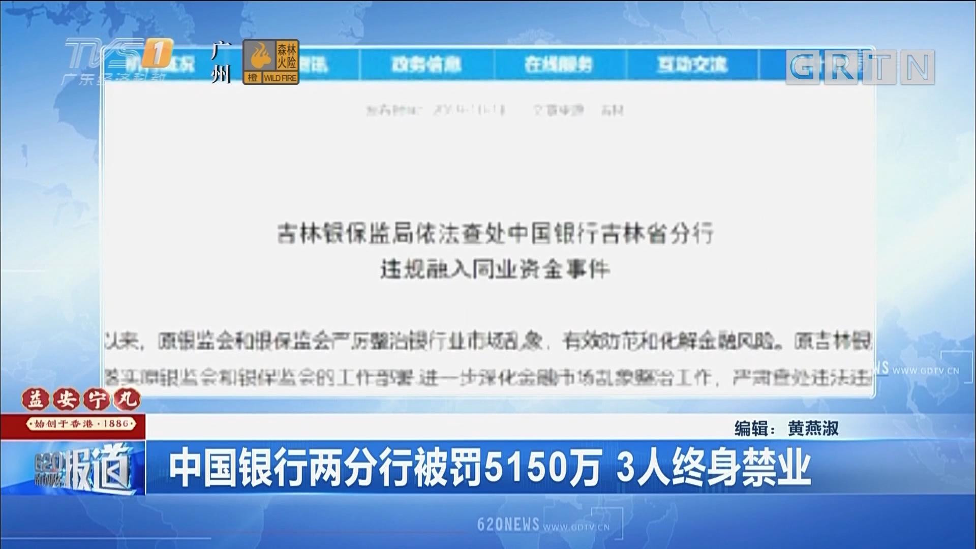 中国银行两分行被罚5150万 3人终身禁业