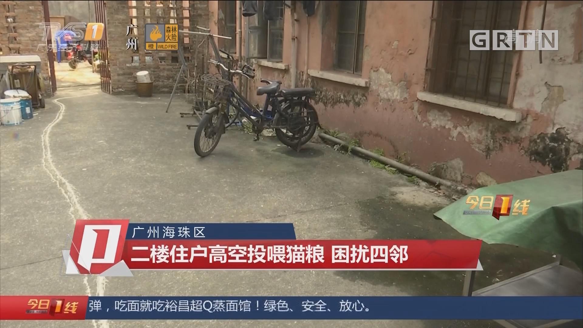 广州海珠区:二楼住户高空投喂猫粮 困扰四邻
