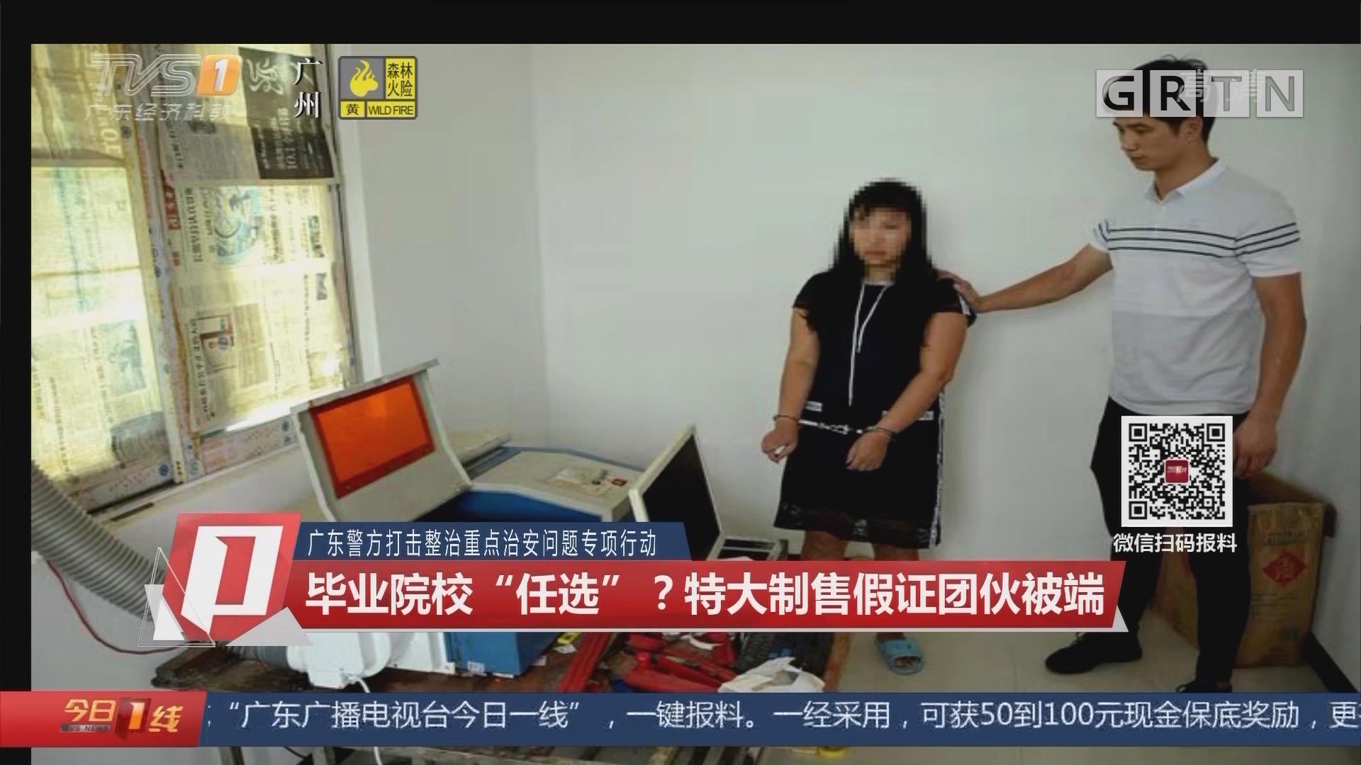 """广东警方打击整治重点治安问题专项行动:毕业院校""""任选""""?特大制售假证团伙被端"""