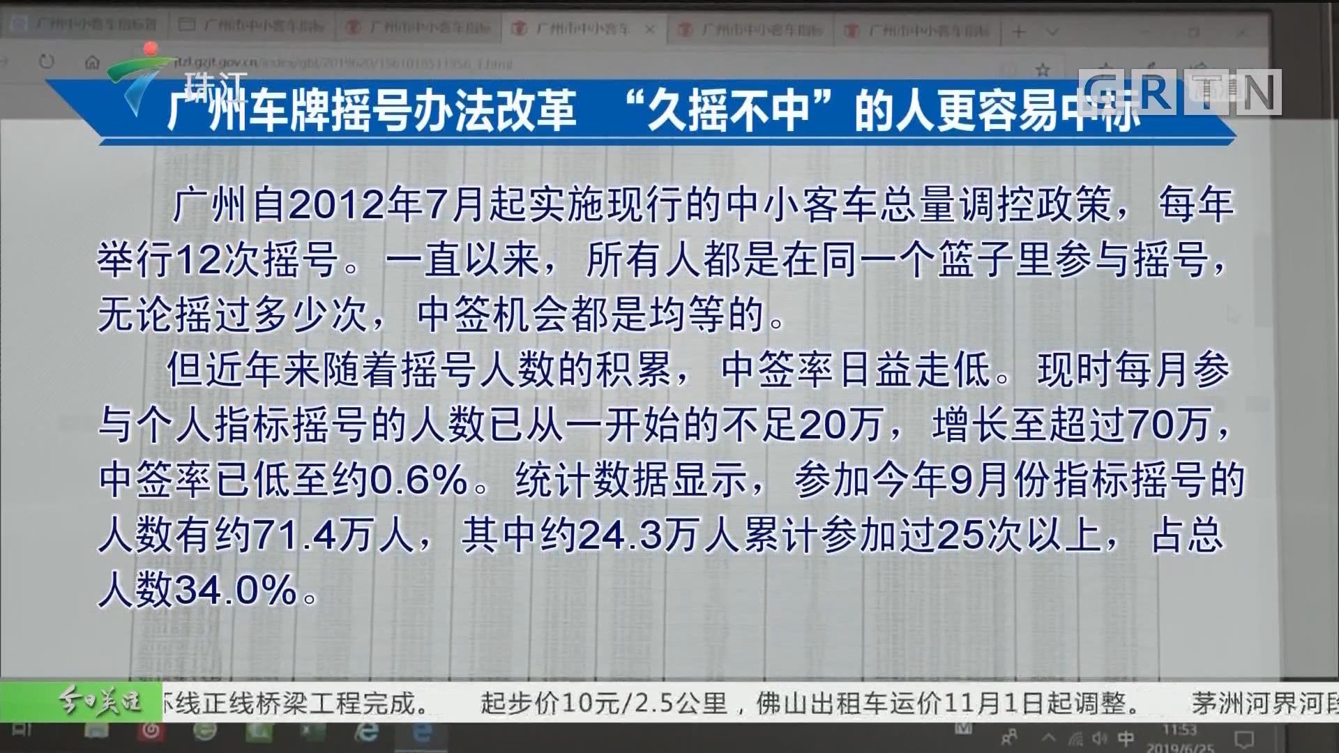 """广州车牌摇号办法改革 """"久摇不中""""的人更容易中标"""