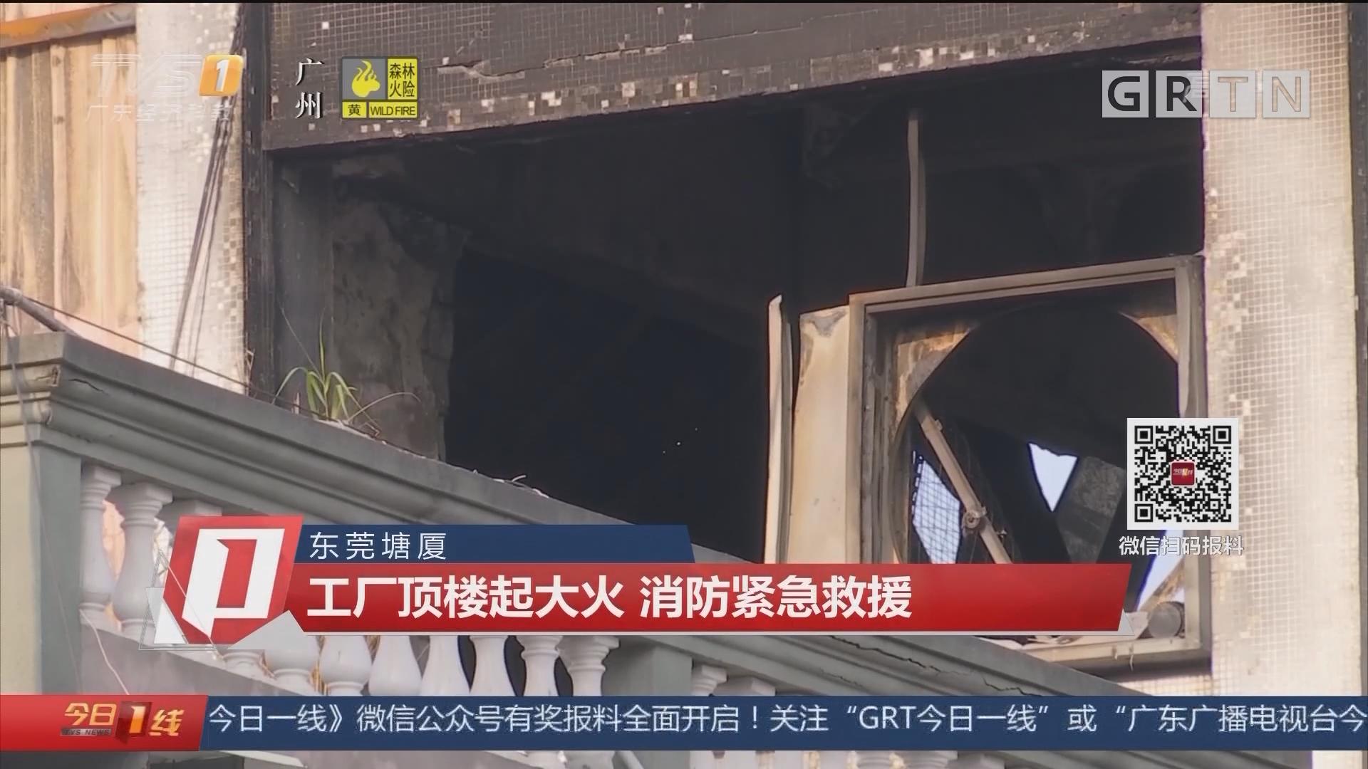 东莞塘厦:工厂顶楼起大火 消防紧急救援