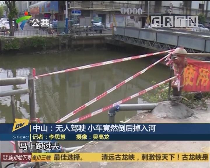(DV现场)中山:无人驾驶 小车竟然倒后掉入河