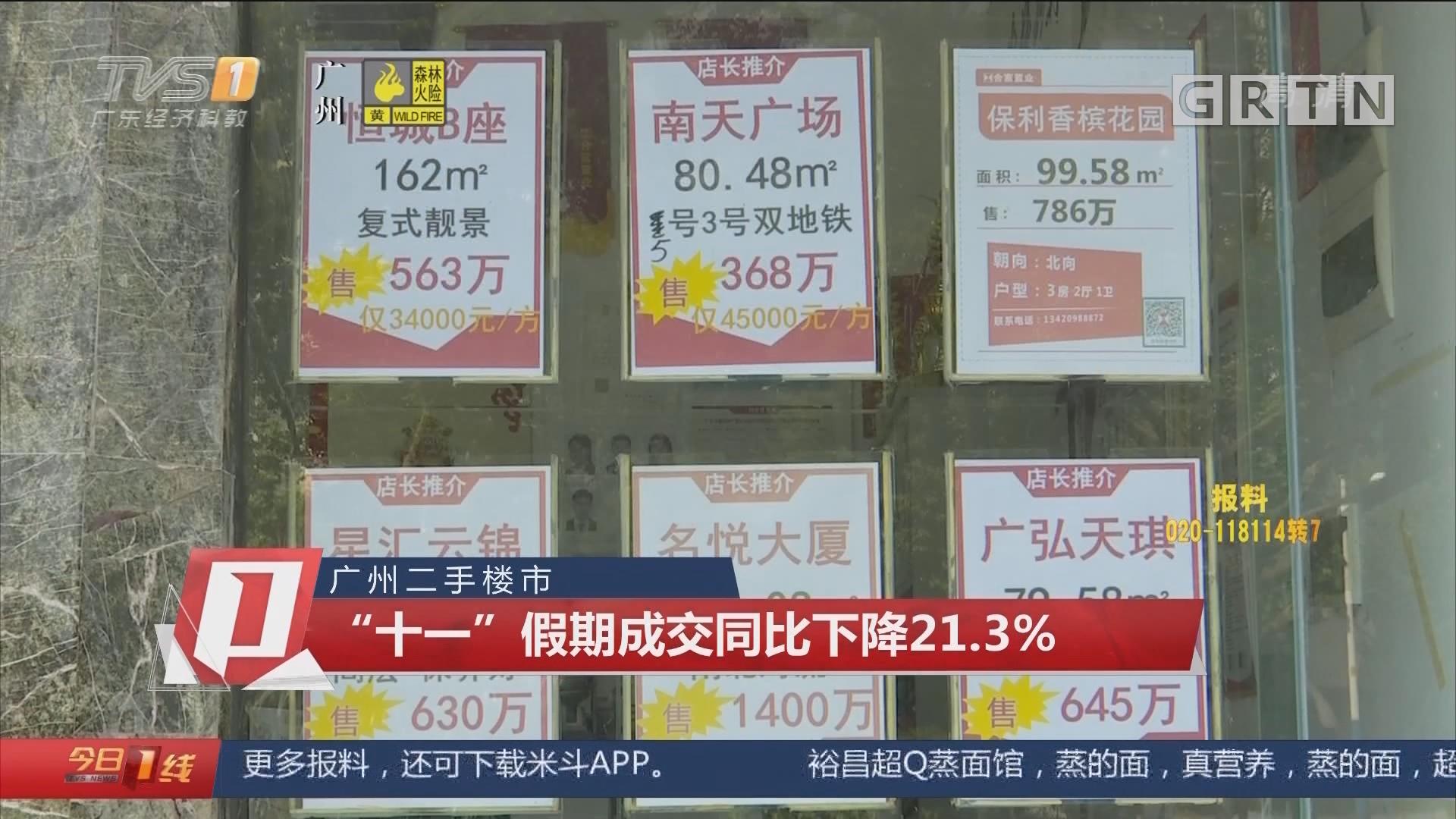 """广州二手楼市 """"十一""""假期成交同比下降21.3%"""