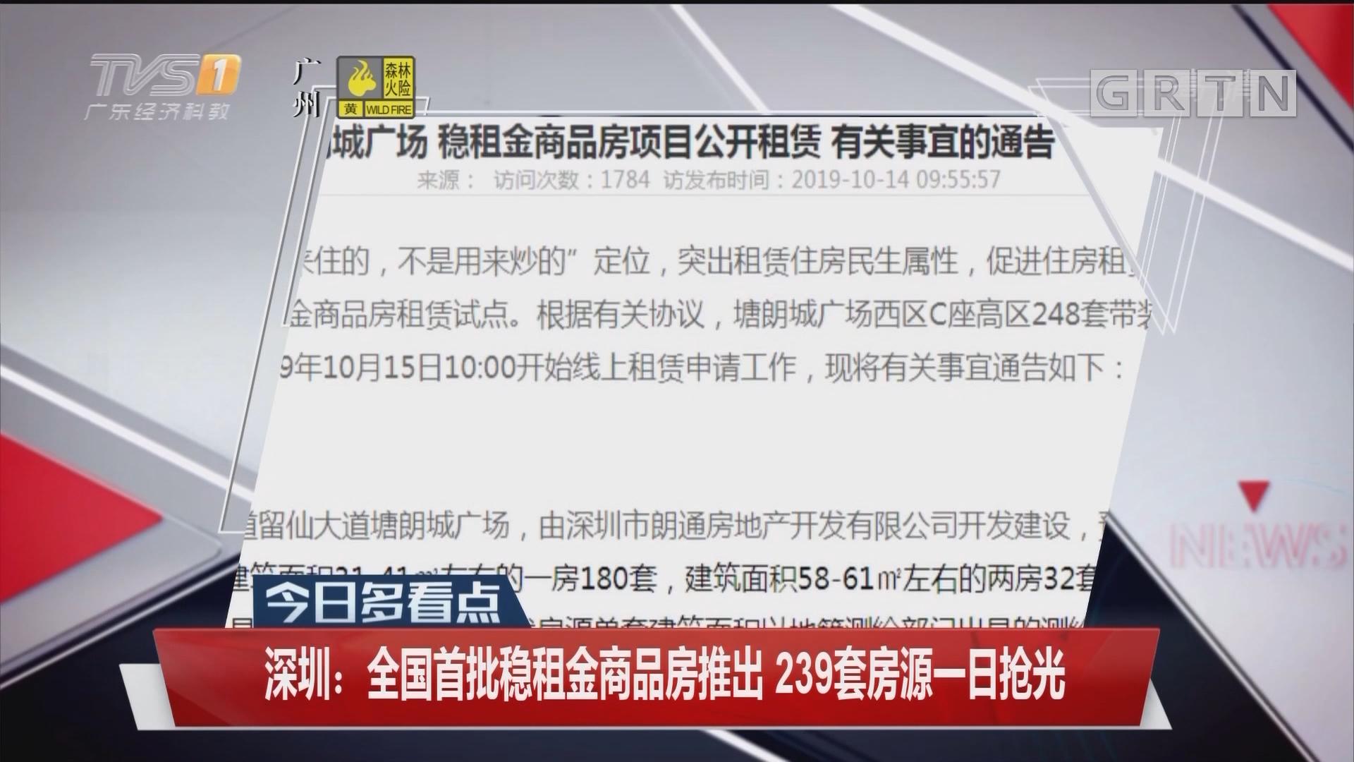 深圳:全国首批稳租金商品房推出 239套房源一日抢光