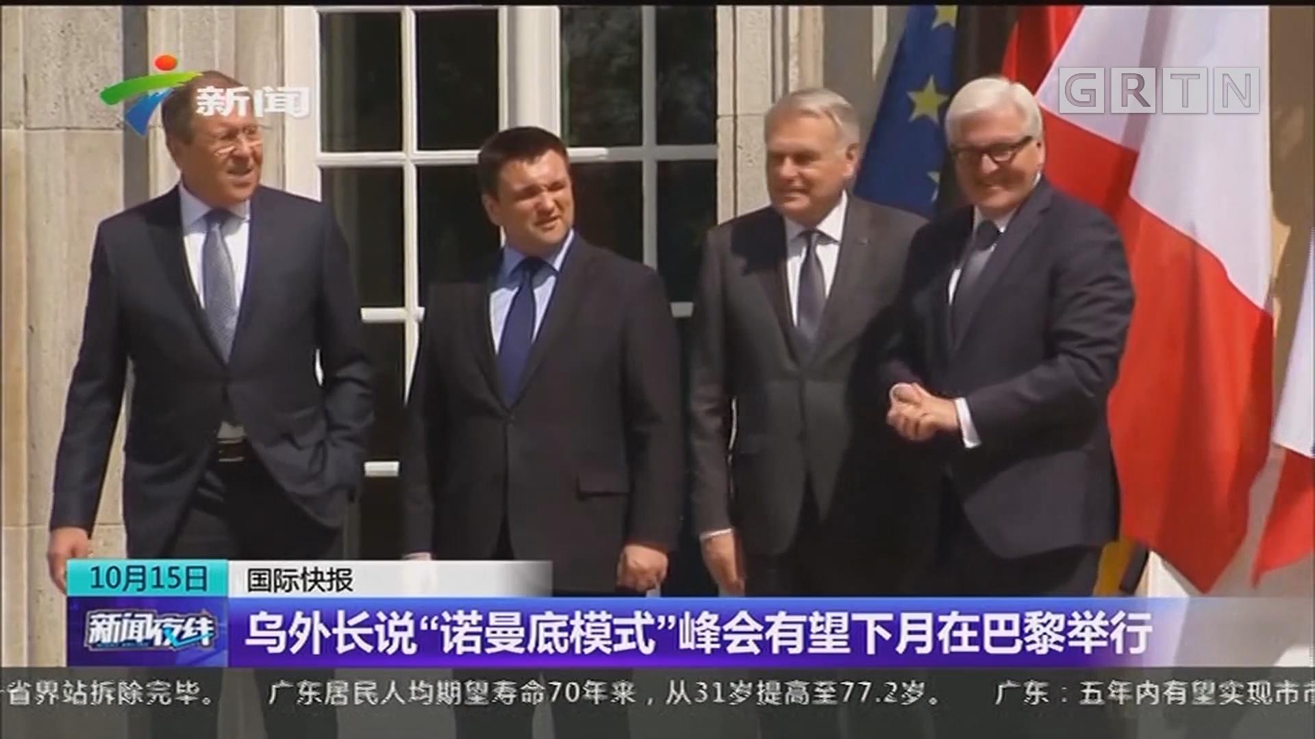 """乌外长说""""诺曼底模式""""峰会有望下月在巴黎举行"""