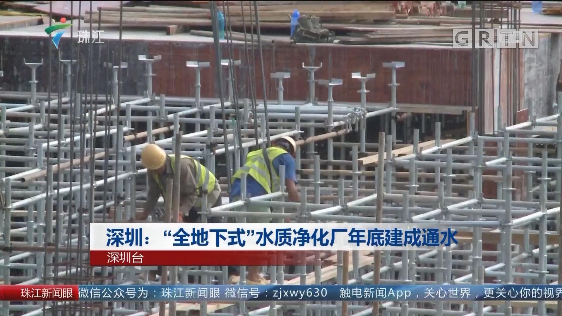 """深圳:""""全地下式""""水质净化厂年底建成通水"""