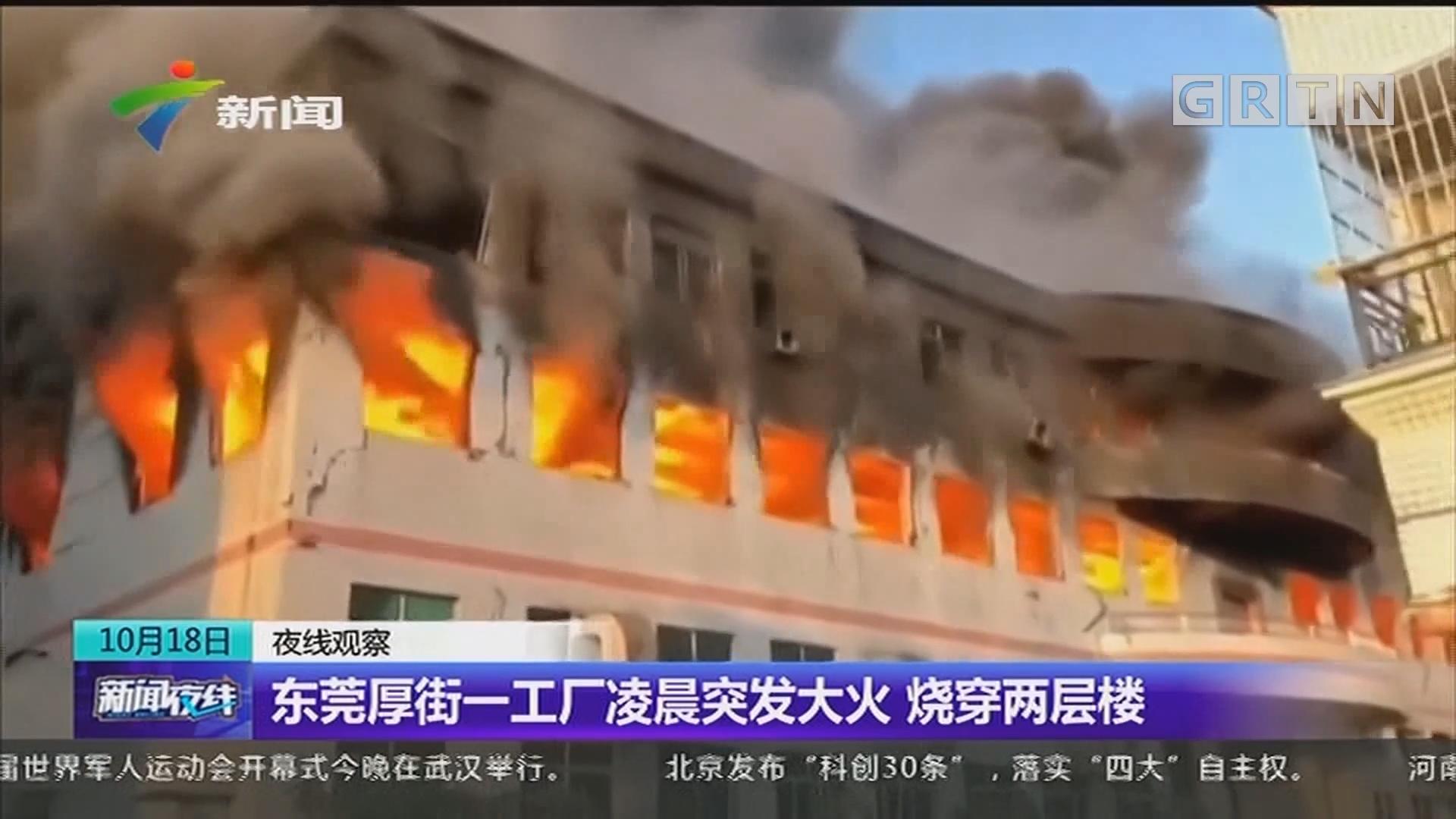 东莞厚街一工厂凌晨突发大火 烧穿两层楼