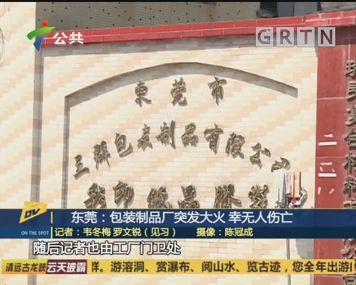 (DV现场)东莞:包装制品厂突发大火 幸无人伤亡