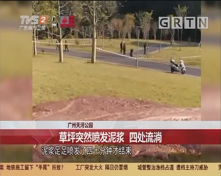 广州天河公园 草坪突然喷发泥浆 四处流淌