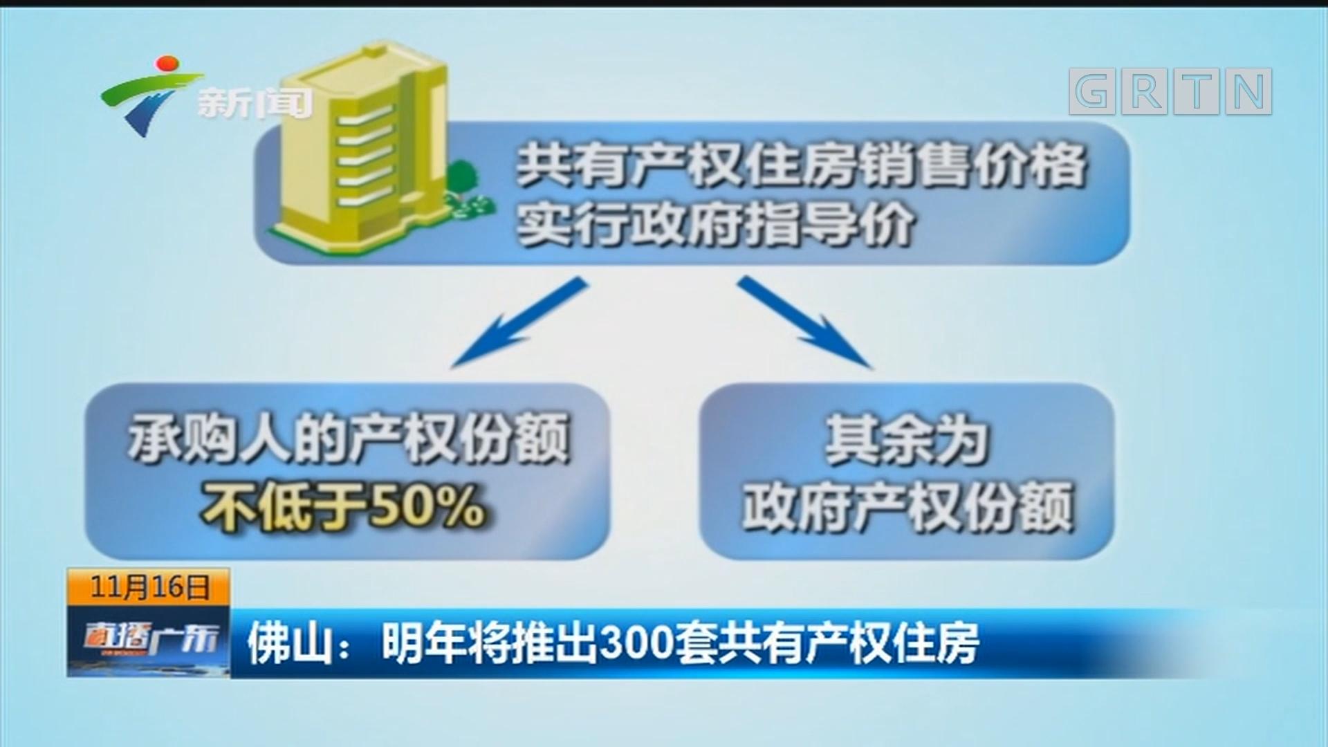 佛山:明年将推出300套共有产权住房