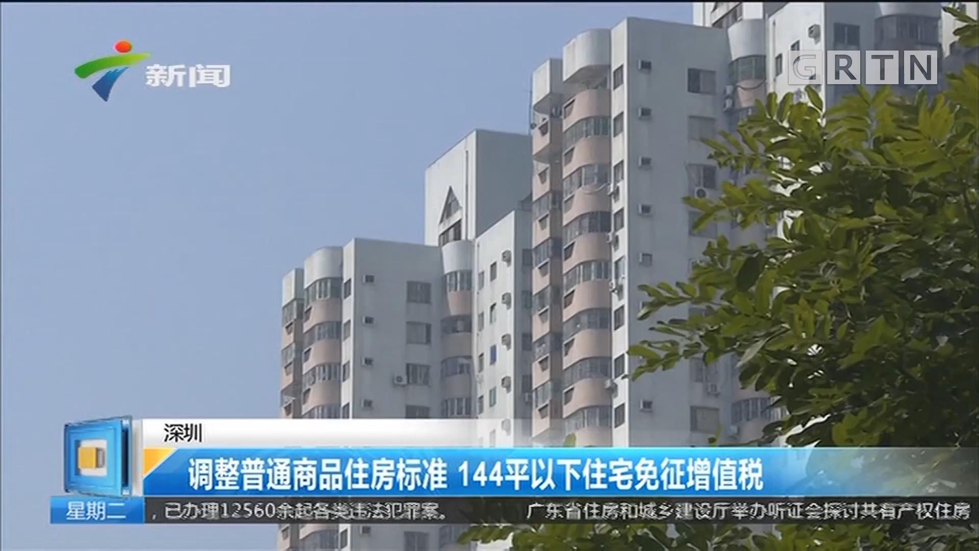 深圳:调整普通商品住房标准 144平以下住宅免征增值税