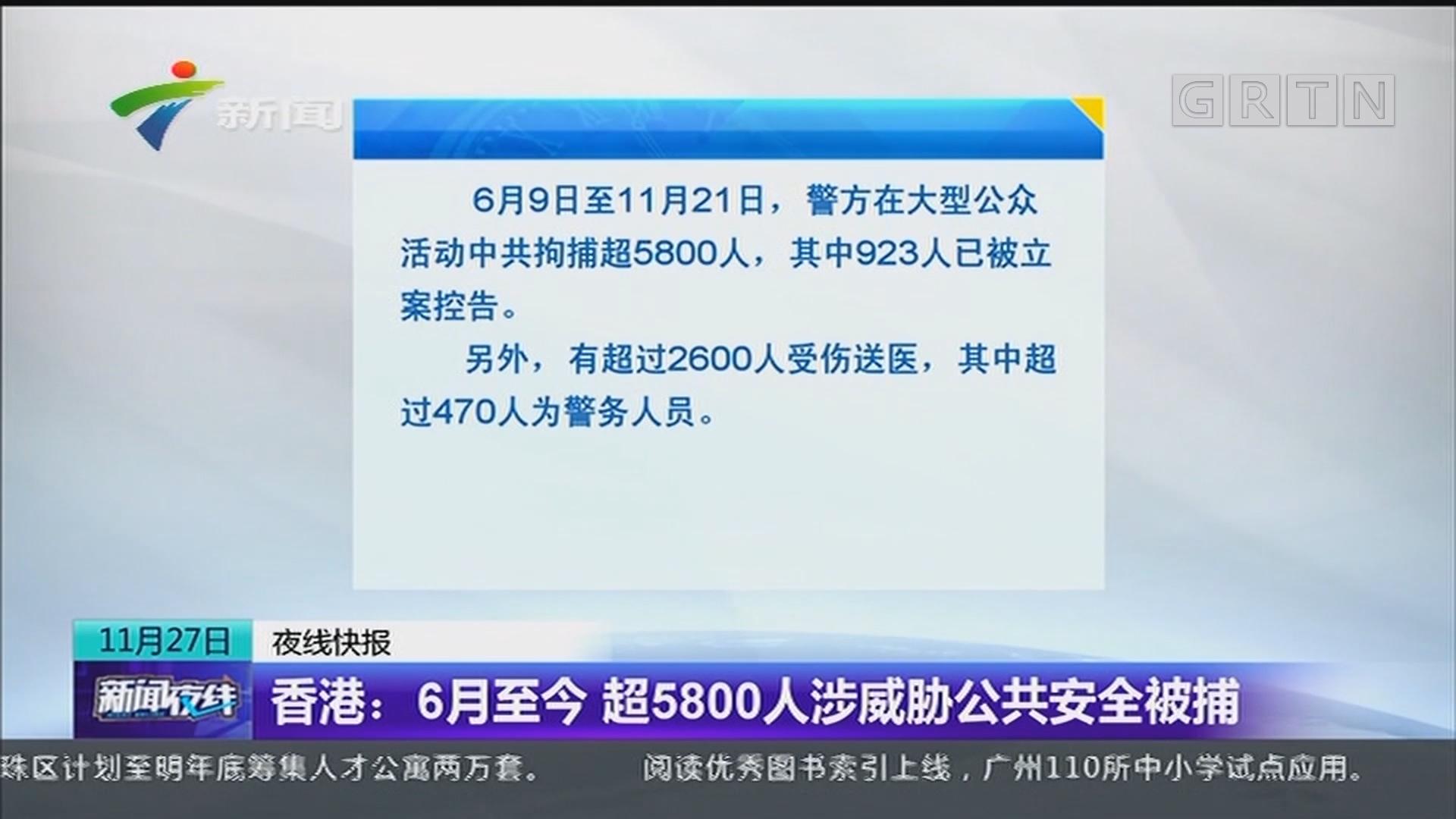 香港:6月至今 超5800人涉威胁公共安全被捕