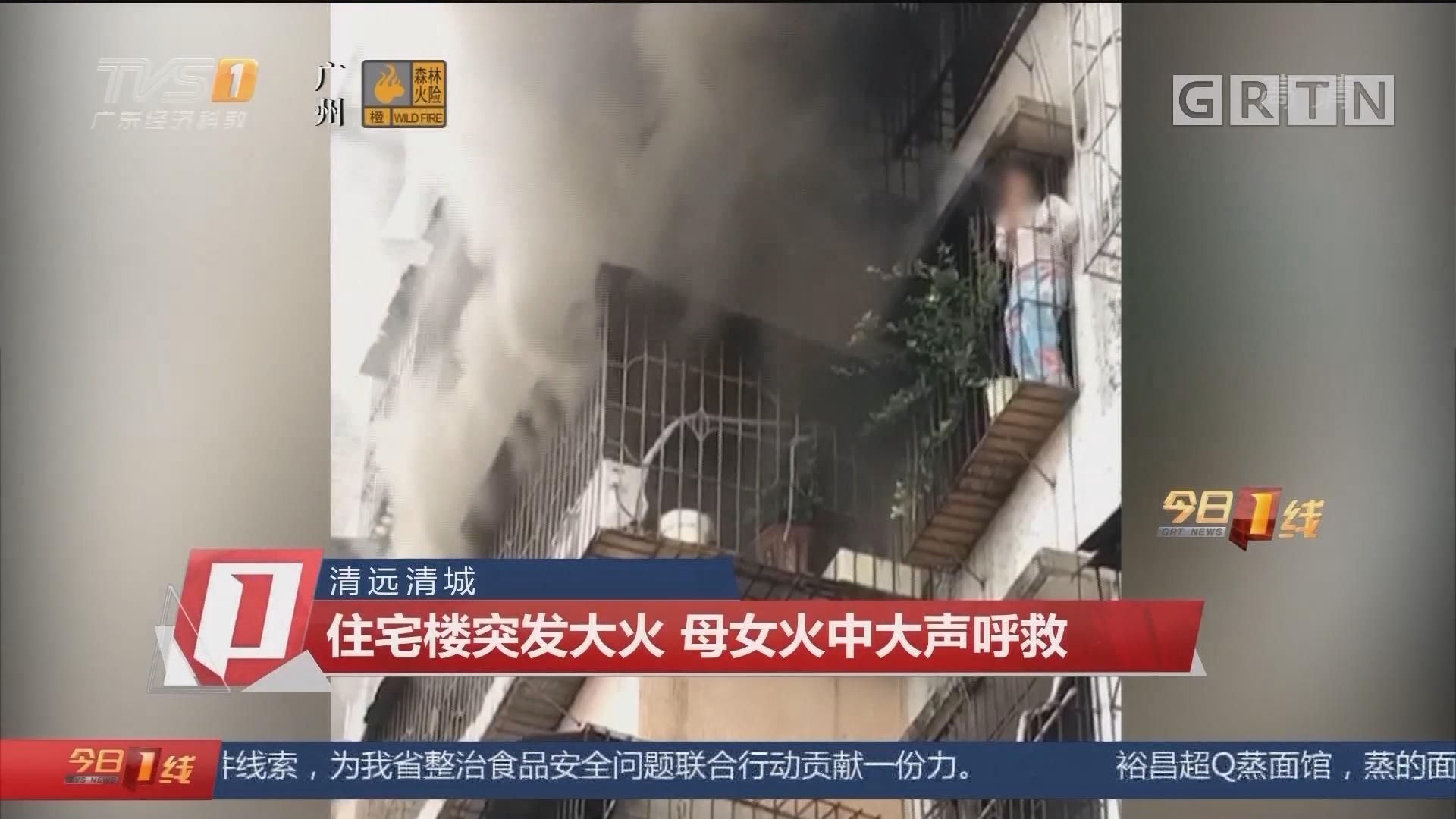 清远清城:住宅楼突发大火 母女火中大声呼救