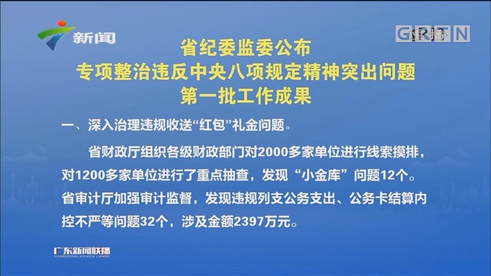 省纪委监委公布专项整治违反中央八项规定精神突出问题第一批工作成果