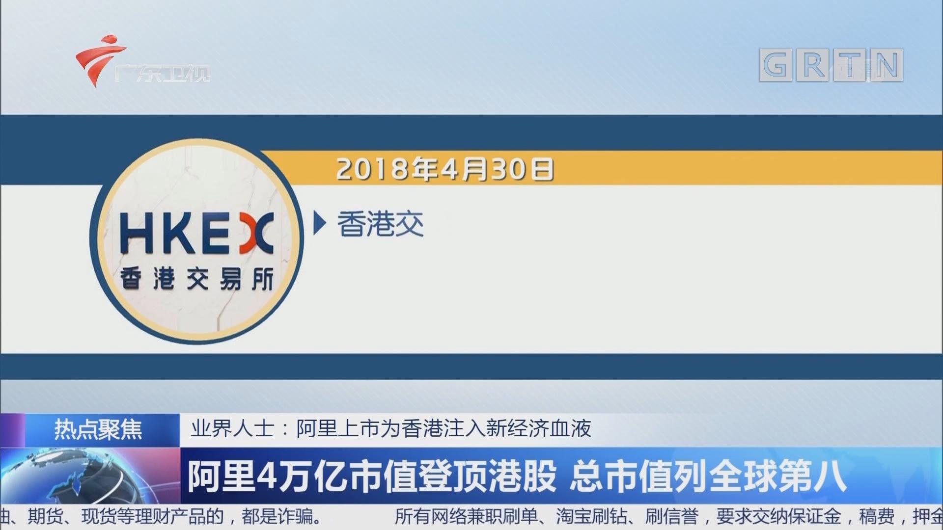 业界人士:阿里上市为香港注入新经济血液 阿里4万亿市值登顶港股 总市值列全球第八