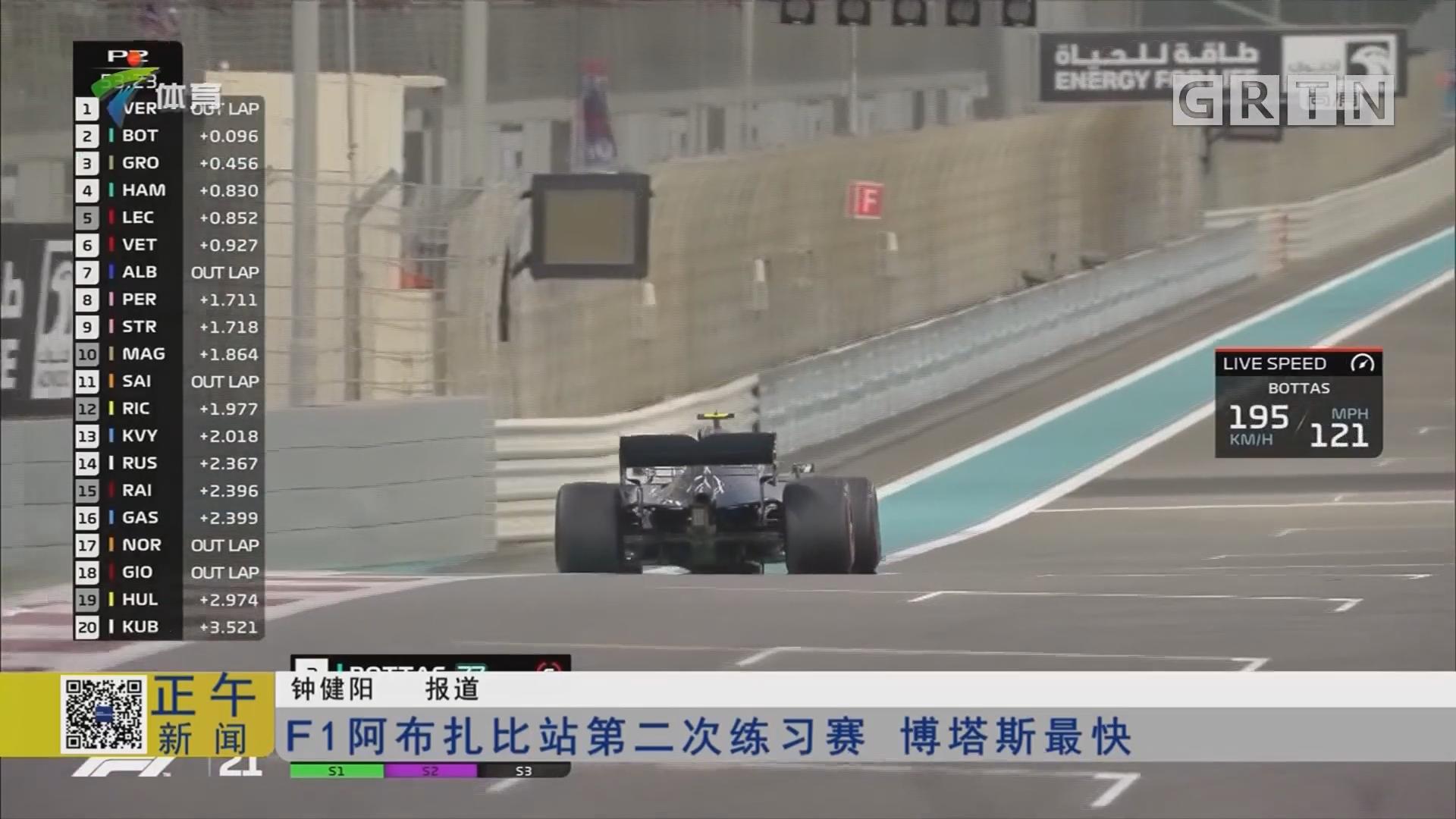 F1阿布扎比站第二次练习赛 博塔斯最快