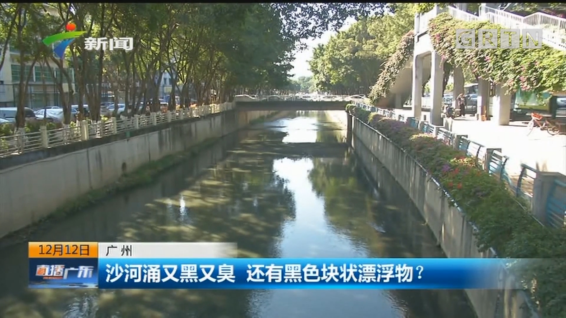广州 沙河涌又黑又臭 还有黑色块状漂浮物?
