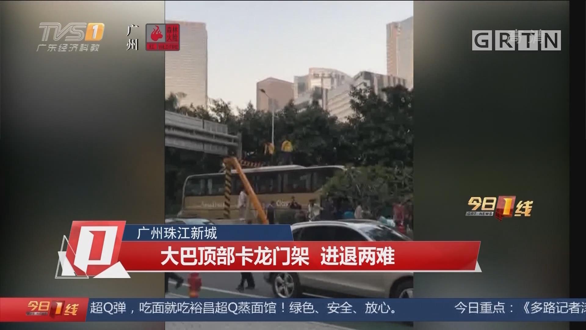 广州珠江新城:大巴顶部卡龙门架 进退两难