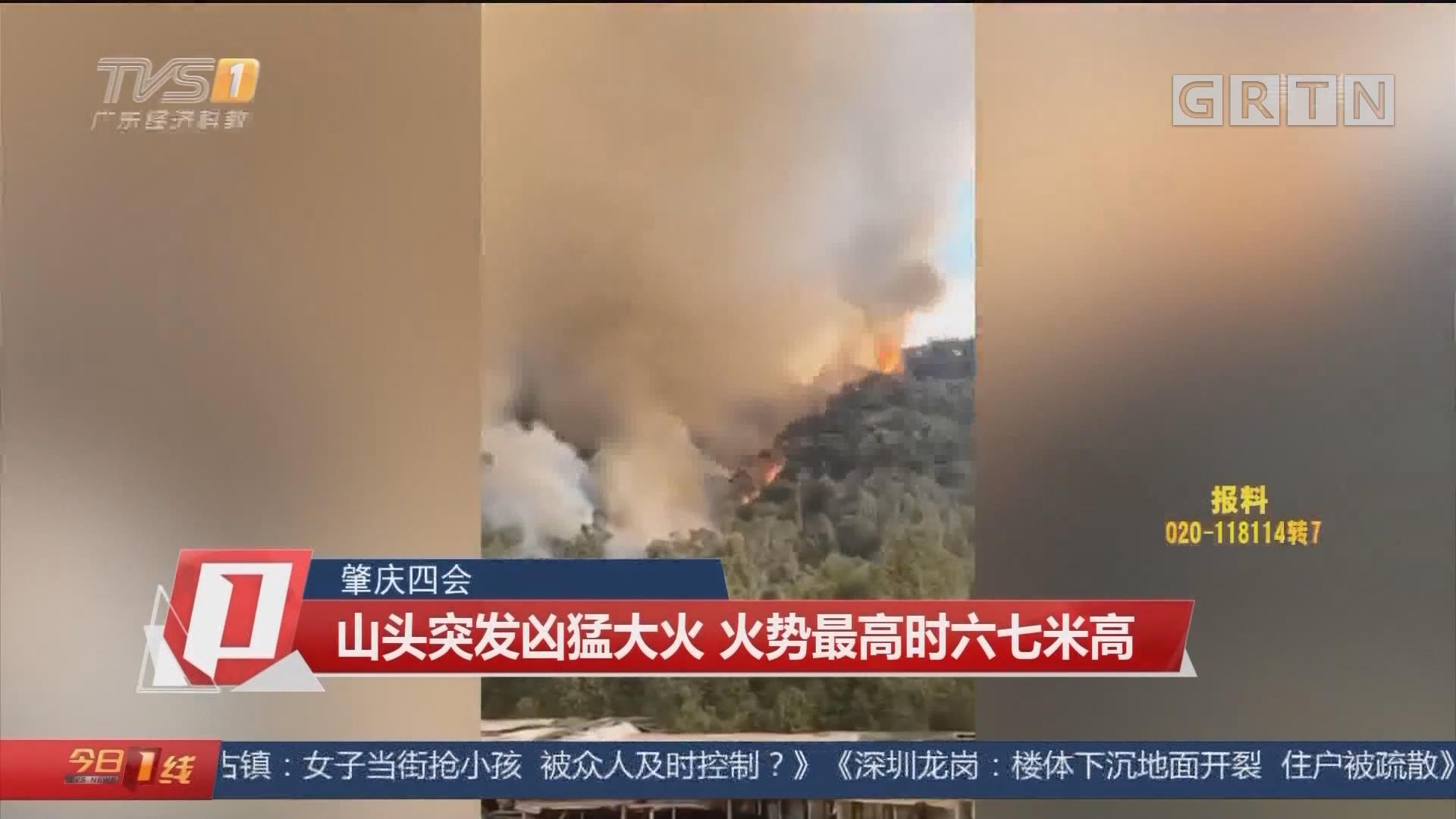 肇庆四会 山头突发凶猛大火 火势最高时六七米高