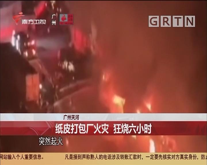 广州天河 纸皮打包厂火灾 狂烧六小时