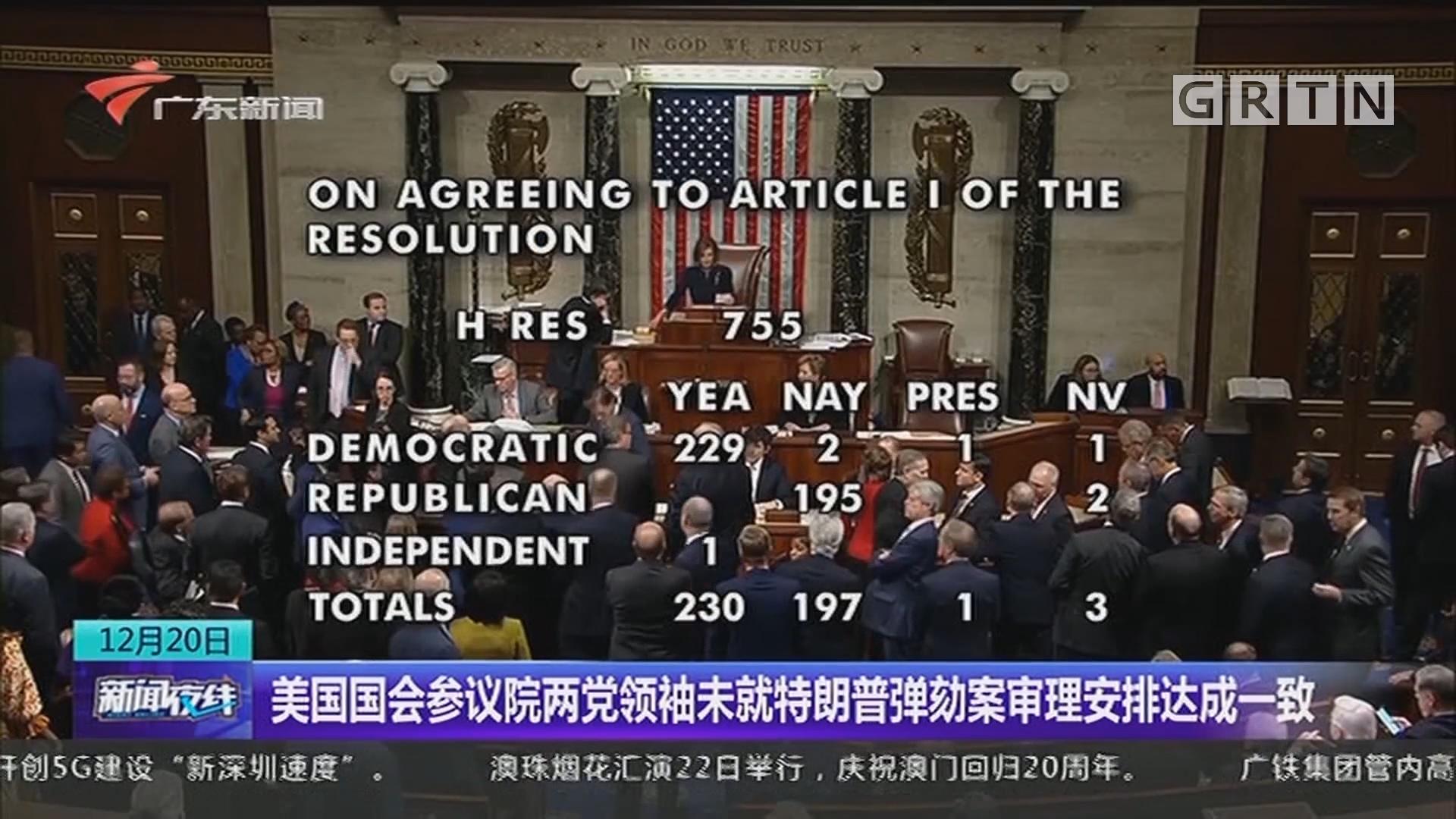 美国国会参议院两党领袖未就特朗普弹劾案审理安排达成一致