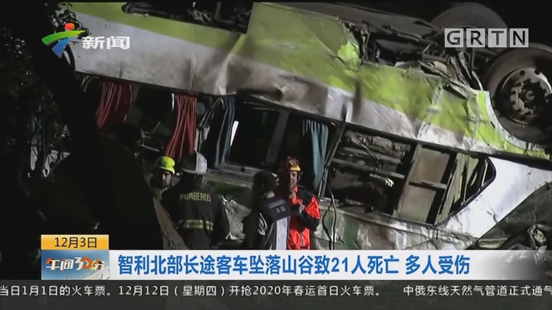 智利北部长途客车坠落山谷致21人死亡 多人受伤