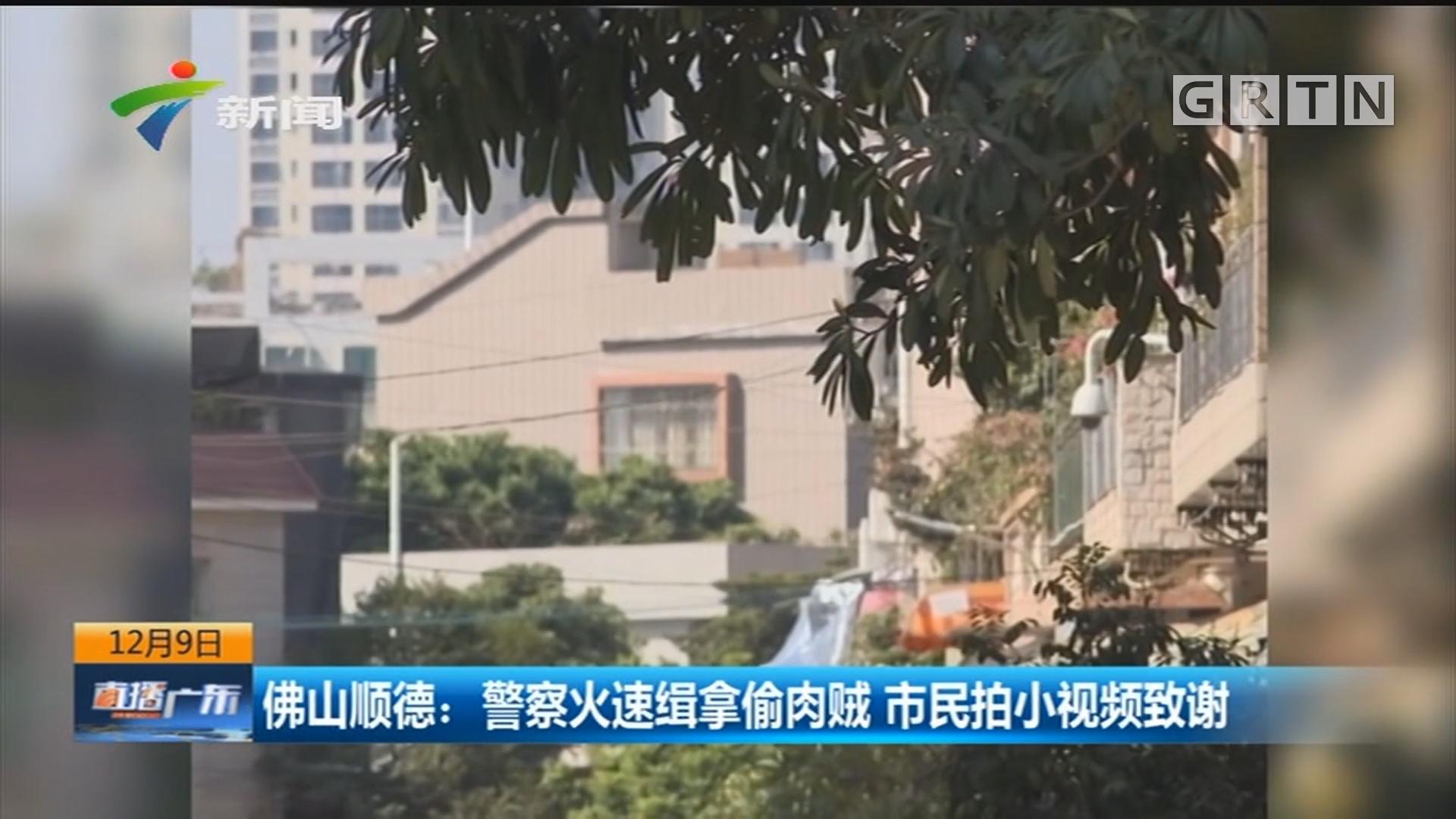 佛山顺德:警察火速缉拿偷肉贼 市民拍小视频致谢