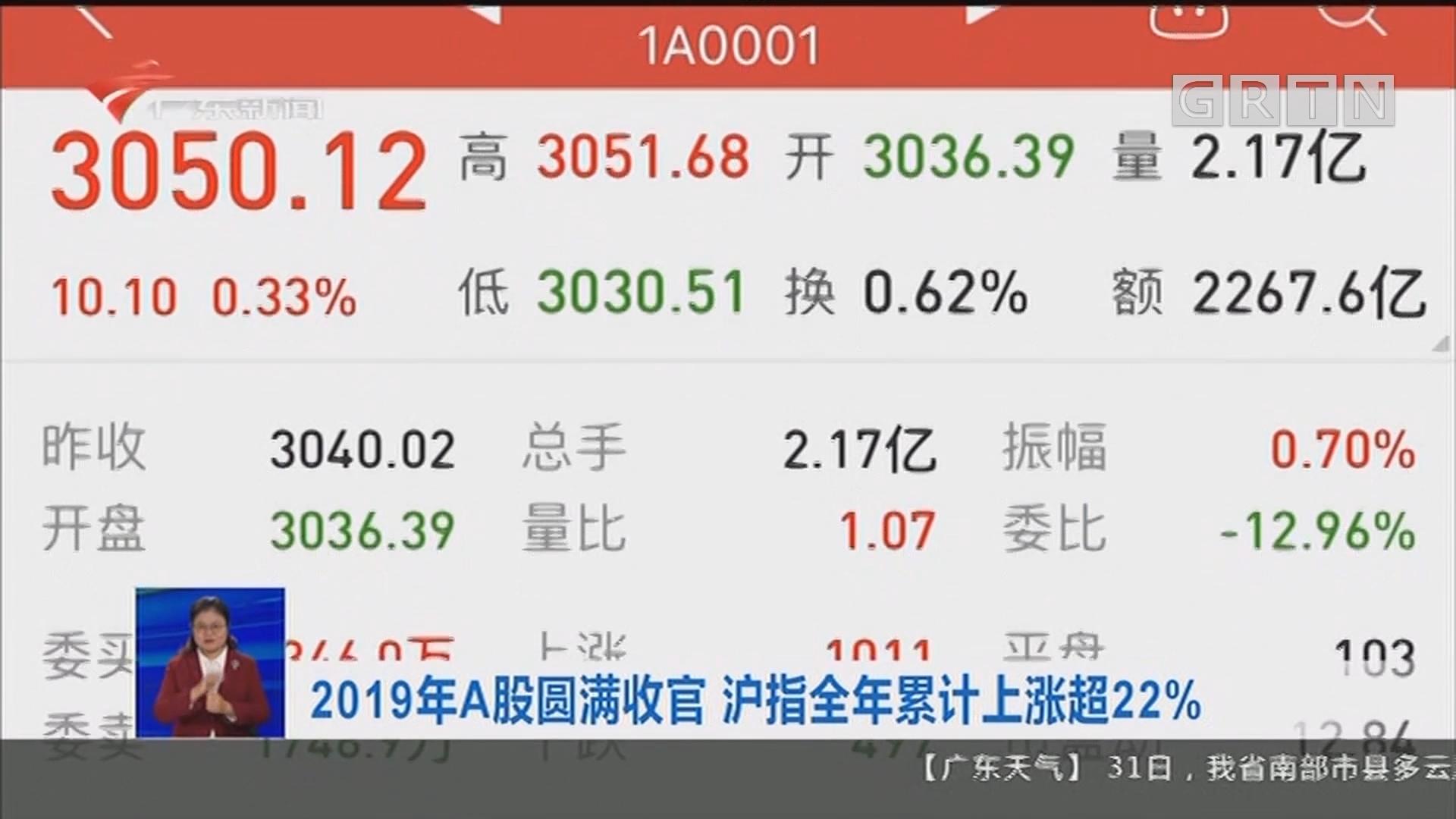 上海:2019年A股圆满收官 沪指全年累计上涨超22%