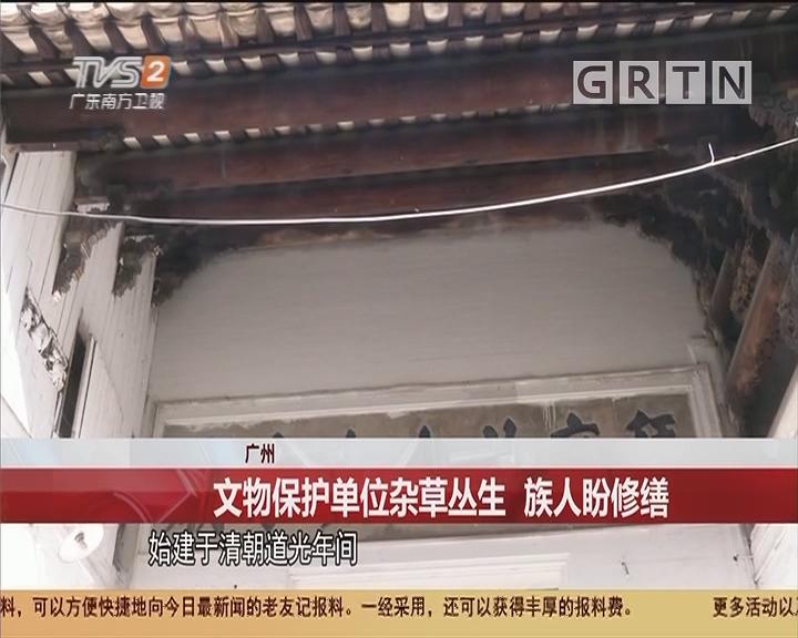 广州:文物保护单位杂草丛生 族人盼修缮