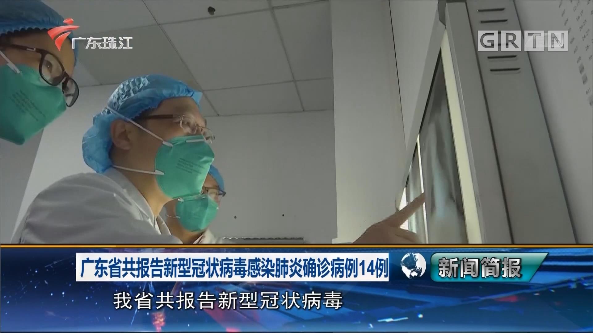 广东省共报告新型冠状病毒感染肺炎确诊病例14例