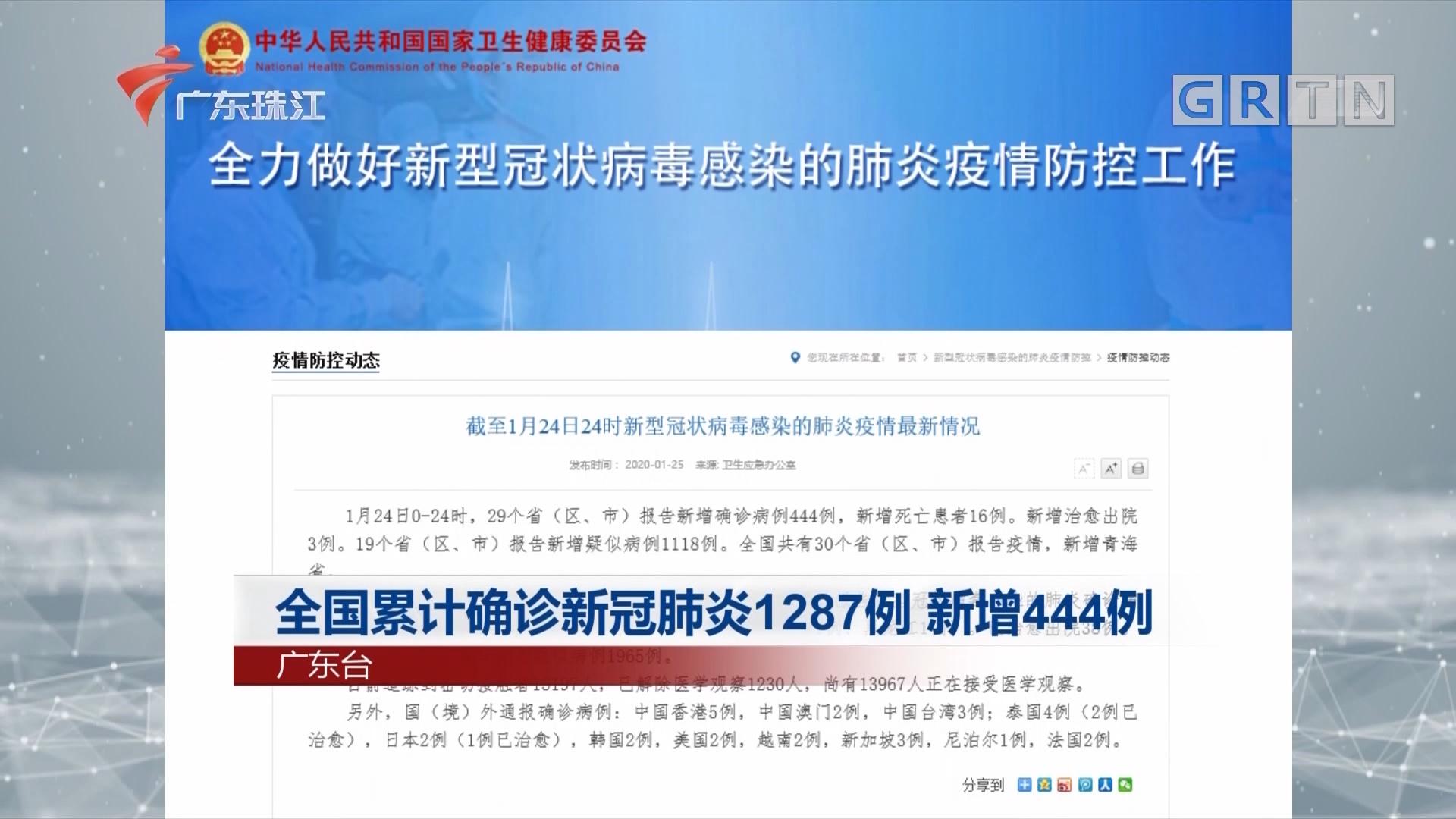 全国累计确诊新冠肺炎1287例 新增444例