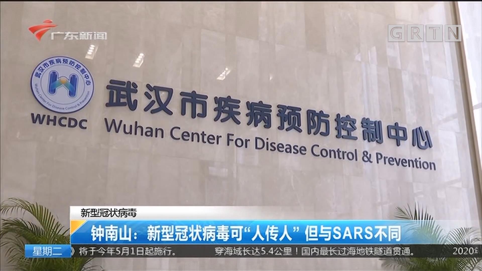 """新型冠状病毒 钟南山:新型冠状病毒可""""人传人"""" 但与SARS不同"""